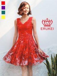 【ERUKEI】立体斜線・プリント・4色カラー・ライン・ミニドレス・ワンピース