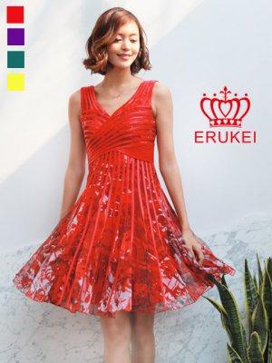 画像1: 【ERUKEI】立体斜線・プリント・4色カラー・ライン・ミニドレス・ワンピース