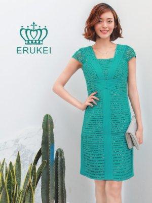 画像1: 【ERUKEI】立体斜線・グリーン・半袖・ライン・ミニドレス・ワンピース