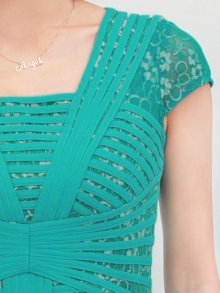 他の写真3: 【ERUKEI】立体斜線・グリーン・半袖・ライン・ミニドレス・ワンピース