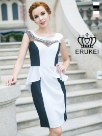 [SALE品のため返品不可]【ERUKEI】バイカラー・ぺプラム・ミニドレス・ワンピース