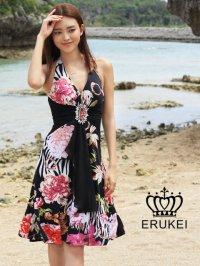 【ERUKEI】ブラック・フラワープリント・ミニドレス・ワンピース
