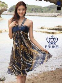 【ERUKEI】シルク素材・ストラップビーズ・ミニドレス・ワンピース