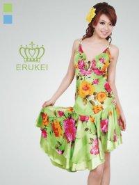 【ERUKEI】花柄・シルク素材・ミニドレス・ワンピース