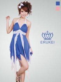【ERUKEI】ホルターネック・シルク素材・ミニドレス・ワンピース