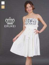 【ERUKEI】胸元フラワー・ウエストリボン・ベア・ミニドレス・ワンピース