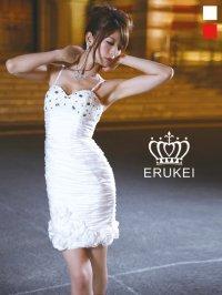 【ERUKEI】シャーリング・フラワー・ミニドレス・ワンピース