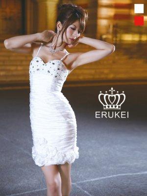 画像1: [SALE品のため返品不可]【ERUKEI】シャーリング・フラワー・ミニドレス・ワンピース
