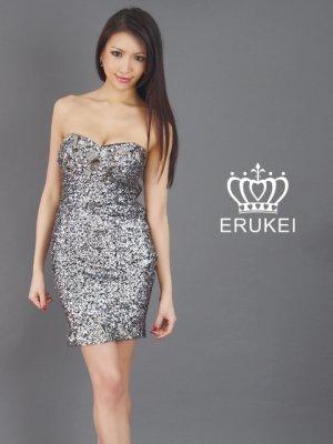 画像2: 【ERUKEI】タイト・スパンコール・ミニドレス・ワンピース