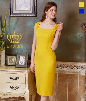 画像1: 【ERUKEI】ビビッドカラー・半袖・ スクエアネック・ シンプル・ 無地・ ミディアムドレス・ ワンピース