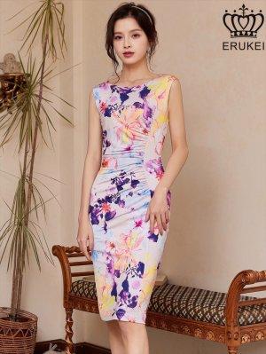 画像1: [ERUKEI]アイシーピンクベース・ ボートネック・ ストレッチ・ 花柄・ ノースリーブ・ ミニドレス・ ワンピース
