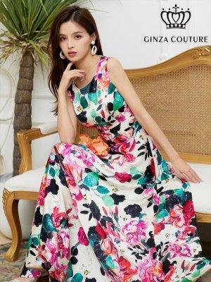 画像1: [GINZA COUTURE]サテン・ ピンク系・花柄 ・プリント ・ノースリーブ・ Aライン・ ハイウエスト ・ロングドレス