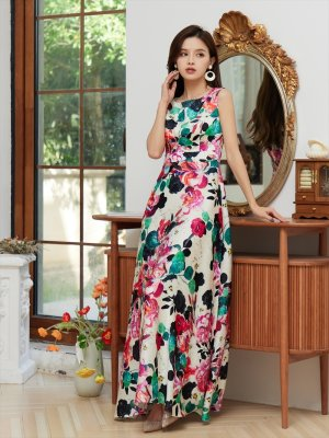 画像2: [GINZA COUTURE]サテン・ ピンク系・花柄 ・プリント ・ノースリーブ・ Aライン・ ハイウエスト ・ロングドレス
