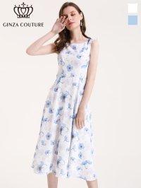 [GINZA COUTURE]ホワイト・ ブルー・ 花柄・ ウエスト切り替え・ ノースリーブ・ Aライン・ フレア・ ミディアムドレス・ ワンピース