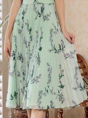 画像4: [GINZA COUTURE]グリーン・ 花柄・ プリーツ・ Aライン・ ミディアムワンピース・ ワンピース