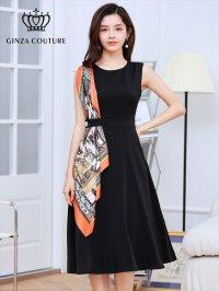 [GINZA COUTURE]ブラックベース・ オレンジ系スカーフポイント・ ノースリーブ・ Aライン・ 無地・ ミディアムドレス・ ワンピース