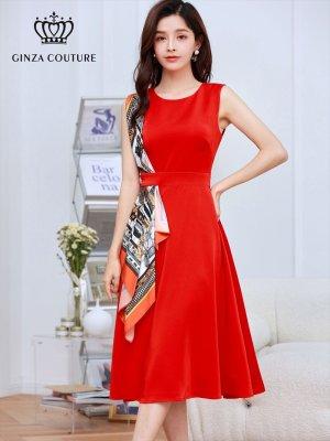 画像1: [GINZA COUTURE]オレンジ系スカーフポイント・ ノースリーブ・ Aライン・ 無地・ ミディアムドレス・ ワンピース