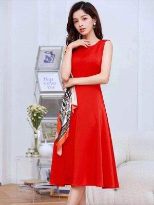 画像2: [GINZA COUTURE]オレンジ系スカーフポイント・ ノースリーブ・ Aライン・ 無地・ ミディアムドレス・ ワンピース