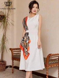 [GINZA COUTURE]ホワイトベース ・オレンジ系スカーフポイント・ ノースリーブ・ Aライン・ 無地・ ミディアムドレス・ ワンピース