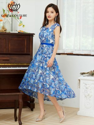 画像1: [GINZA COUTURE]レッド・ブルー・レース ・フラワーレース・ 花柄 ・Aライン・ ノースリーブ・フレア・ ミディアム ドレス・ ワンピース