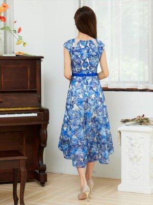 画像2: [GINZA COUTURE]レッド・ブルー・レース ・フラワーレース・ 花柄 ・Aライン・ ノースリーブ・フレア・ ミディアム ドレス・ ワンピース
