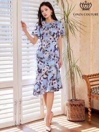 [GINZA COUTURE]ブルーベース・花柄・スリーブドレス・マーメイドライン・上品・ミディアムドレスワンピーズ・ワンピース