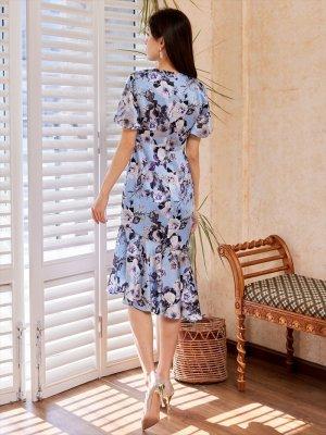画像2: [GINZA COUTURE]ブルーベース・花柄・スリーブドレス・マーメイドライン・上品・ミディアムドレスワンピーズ・ワンピース