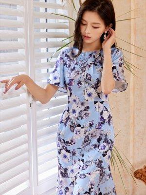 画像3: [GINZA COUTURE]ブルーベース・花柄・スリーブドレス・マーメイドライン・上品・ミディアムドレスワンピーズ・ワンピース