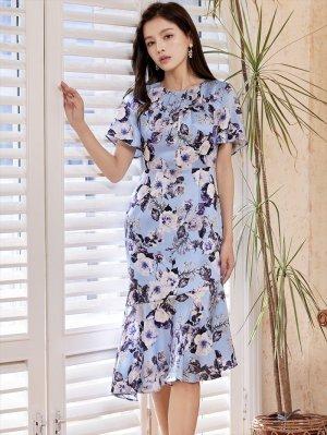 画像4: [GINZA COUTURE]ブルーベース・花柄・スリーブドレス・マーメイドライン・上品・ミディアムドレスワンピーズ・ワンピース