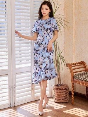 画像5: [GINZA COUTURE]ブルーベース・花柄・スリーブドレス・マーメイドライン・上品・ミディアムドレスワンピーズ・ワンピース