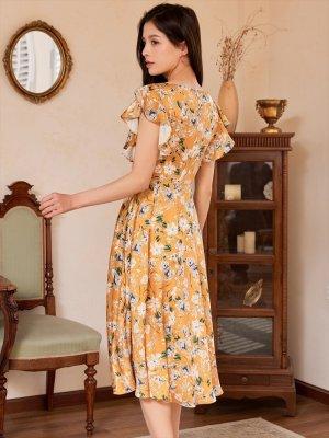 画像2: [GINZA COUTURE]イエロー・花柄・袖フリル・Aライン・ミディアムドレスワンピース・ワンピース