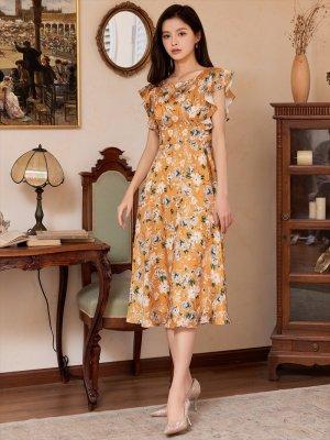 画像4: [GINZA COUTURE]イエロー・花柄・袖フリル・Aライン・ミディアムドレスワンピース・ワンピース