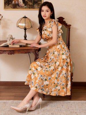 画像5: [GINZA COUTURE]イエロー・花柄・袖フリル・Aライン・ミディアムドレスワンピース・ワンピース