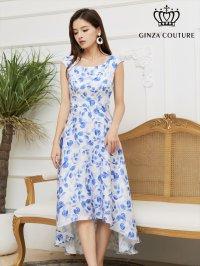 [GINZA COUTURE]ブルー×ホワイト ・花柄 ・アシメントリー・ フレンチスリーブ ・Aライン・ フレア ・ミディアムドレス・ ワンピース