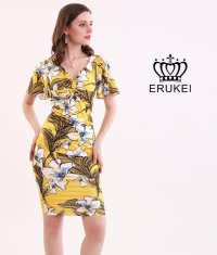 [ERUKEI]Vネック・ イエロー系・ トロピカル系・ 花柄・ 半袖・ カシュクール・ ミニドレス・ ワンピース