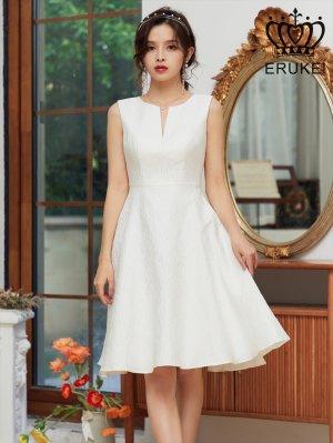 画像1: [ERUKEI]ホワイト・ シンプル・ ジャガード・ 切り込みカット・ フレア・ Aライン・ ミニドレス・ ワンピース