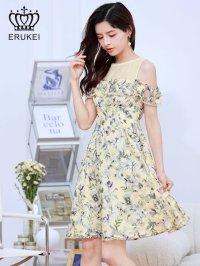 [ERUKEI]オープンショルダー・ イエロー系花柄・ レース・ Aライン ・半袖 ・フレア・ ミニドレス ・ワンピース