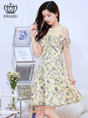 画像1: [ERUKEI]オープンショルダー・ イエロー系花柄・ レース・ Aライン ・半袖 ・フレア・ ミニドレス ・ワンピース