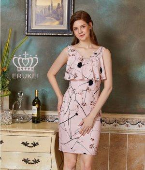 画像2: 【ERUKEI】胸元フリルレイヤード・花柄・シフォン・ビジュー・タイト・ミニドレス・ワンピース