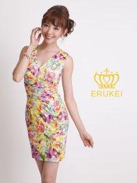 【再入荷】【ERUKEI】カラフル・フラワープリント・ミニドレス・ワンピース