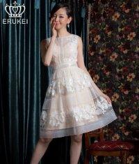 【ERUKEI Settan】フラワーレース・ノースリーブ・Aライン・ミニドレス・ワンピース