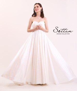 画像1: [SETTAN]ホワイト・ オーロラ・ ベア・ Aライン・ シンプル・ ロングドレス
