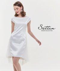 [SETTAN]ホワイト・ 首元パール・ シンプル・ バックチュール・ スパン・ 半袖・ ミニドレス・ ワンピース
