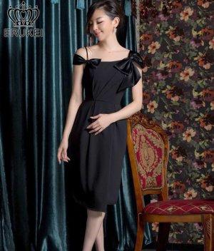 画像1: 【SETTAN】ブラック・シンプル・無地・リボンポイント・フレア・ミディアムドレス・ワンピース