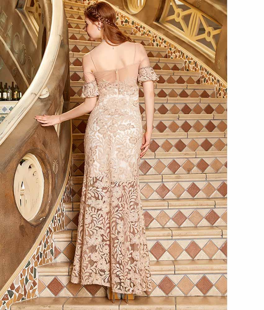 b2911cb574a5e  SETTAN ベージュ・ 上品・ オフショル・ 刺繍・ スパンコール・ シースルー・ ロングドレス  s62240